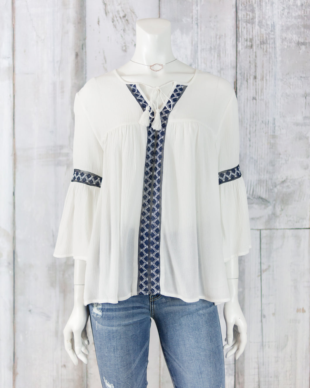Bell Slv Embroidered Tie at Neck Peasant Top LM8036Y35