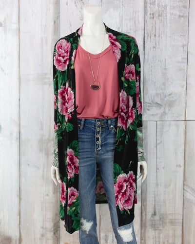 Floral Knit Three Quarter Length Cardigan