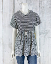 Knit Stripe and Cheetah Printed Top