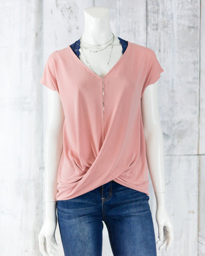 V Neck Twisted Front Top