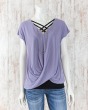 V Neck Short Slv Twisted Front Top DZ19A824