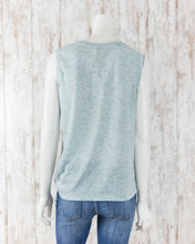 Slvless Crew Neck Heathered Top w Side Tie WL18-1091