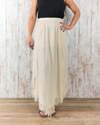 Long Skirt with Fringe Overlay Accents