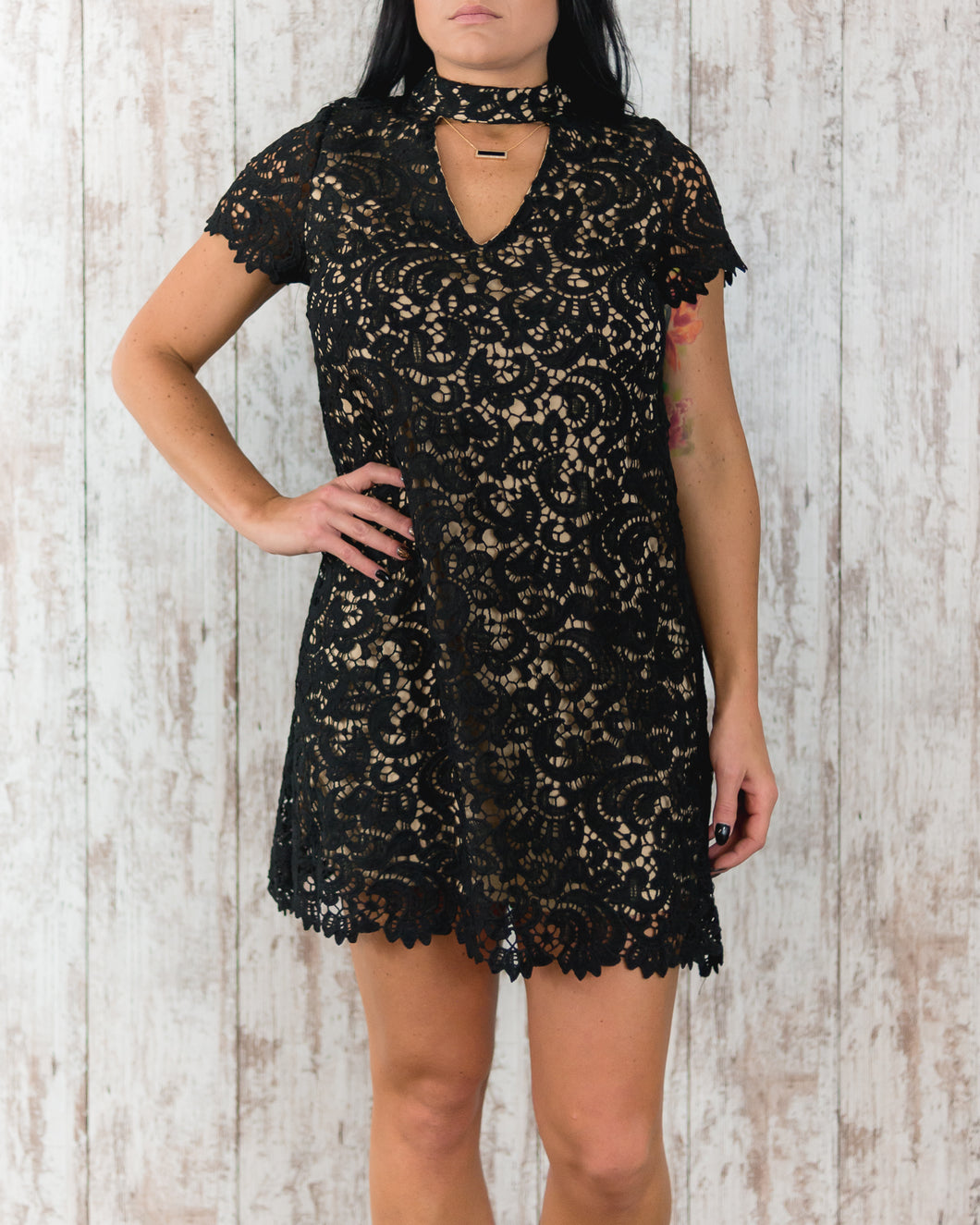 Woven Lace Overlay Dress