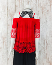 Spaghetti Strap Cold Shoulder Lace Accented Top 44625