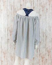 Embroidered Off the Shoulder Peasant Stripe Dress