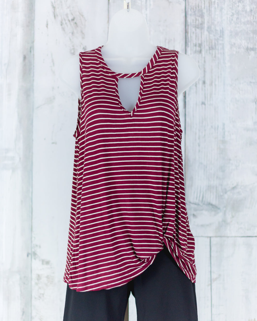 Stripe Keyhole Sleeveless Tie Bottom Top