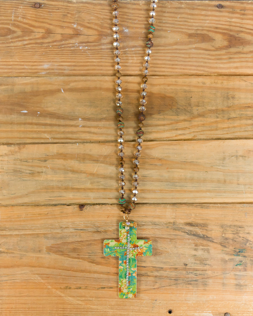 Floral Bling Cross Cutout Necklace