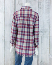 Flannel Plaid Button Down Collared Top w Fringe Hem