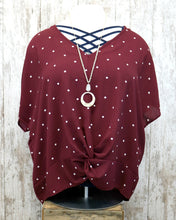 PLUS Twisted Front Dotted Woven Top w Short Dolman Slv PD8FT1184
