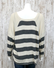 LS Wide Crew Neck Soft Striped Top w Waffle Fabric Accent D9FT1023
