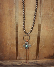 Silver Beaded 20In Necklace on Leather w Ring Cross Drop 101875