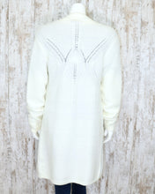 Long White Cable Knit Cardigan 1878WHI