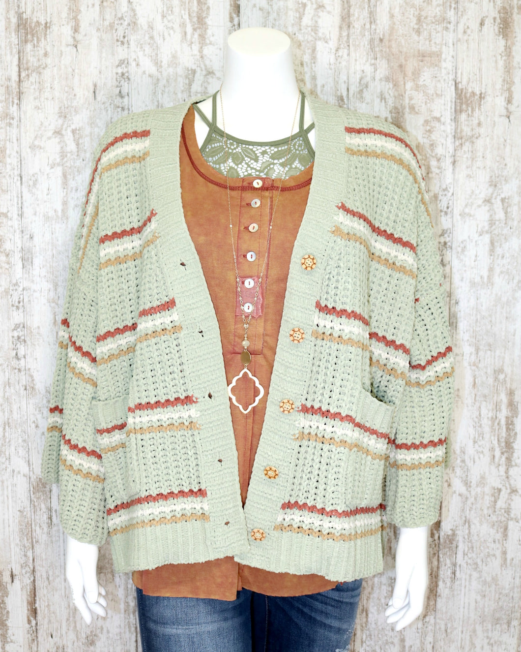Chenille Button Down Striped Sweater w Front Pockets w Three Qtr Length Slvs BST321