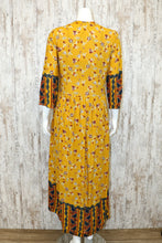 High Low Floral Maxi Dress w V Neck and Three Qtr Slvs B3353-1