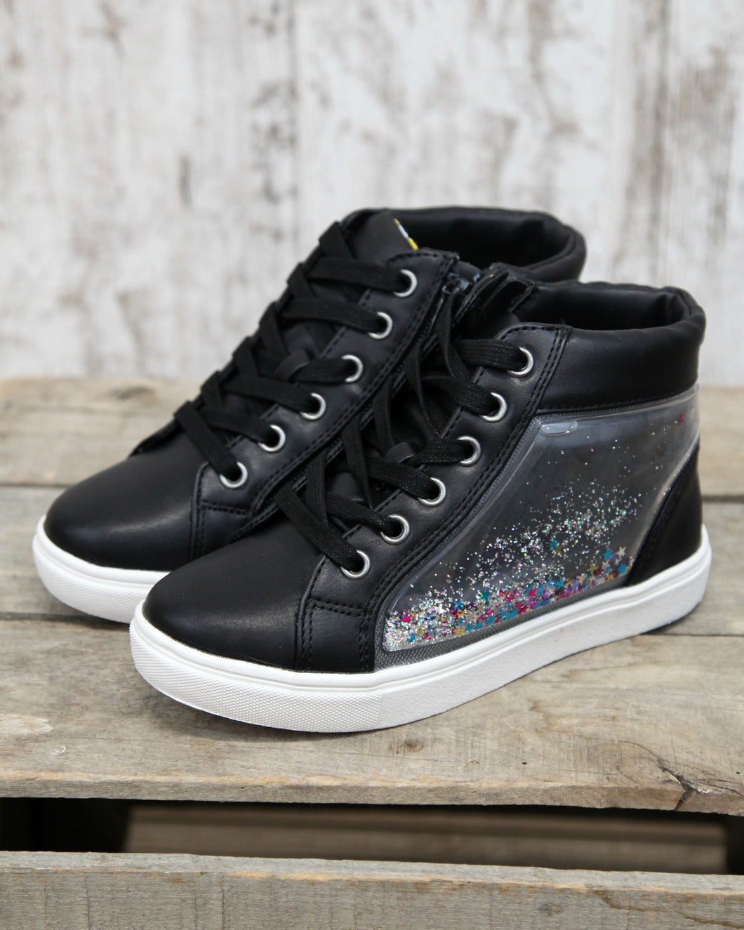 J Shakey High Top Sneaker w Floating Squishy Star Accent w Side Zip