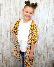 KIDS Tween Mustard Cheetah Mesh Cardigan 14202