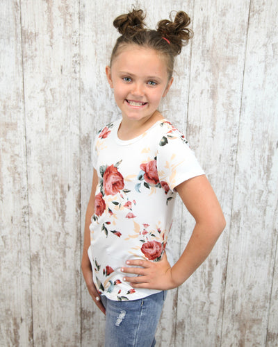 KIDS Floral Short Slv Top T7028-KIDS