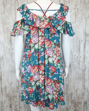Floral Short Dress w Ruffled Cold Shoulder ED9483