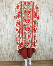 Bright Printed Floral Three Qtr Length Kimono in Cream