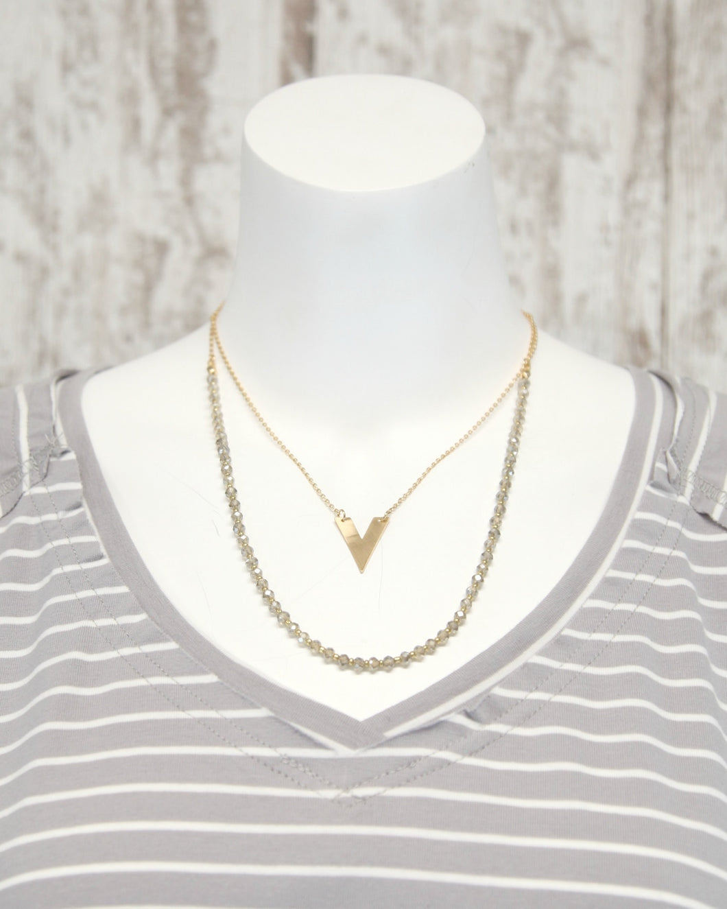Grey Crystal w Gold V Layered 18In Necklace N-930GY
