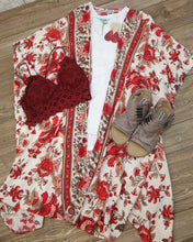 Bright Printed Floral Three Qtr Length Kimono in Cream N2Q23-KA01