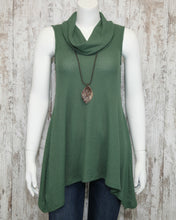 Slvless Misty Cowl Neck Top w Soft Waffle Fabric w Shark Bite Hem