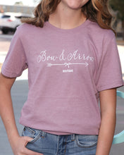 Bow & Arrow Heather Orchid Crew Neck Tee w White Glitter Letters
