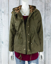 Anorak Button Down Utility Jacket w Leopard Fur Hood and Drawstring Waist 8768JS