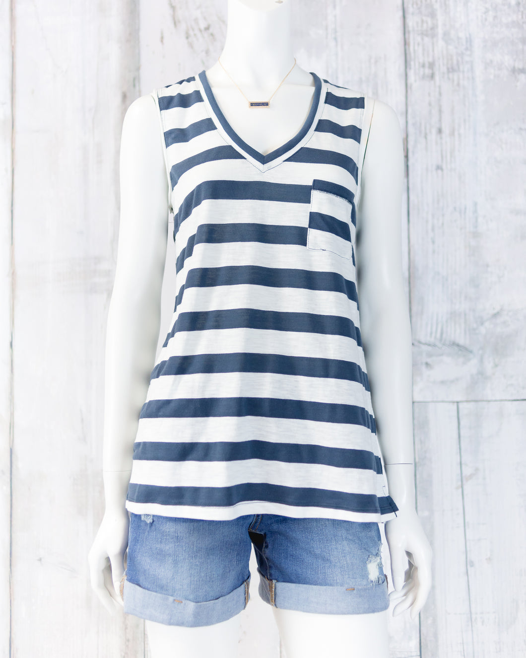 V-Neck Sleeveless Wide-Striped Top
