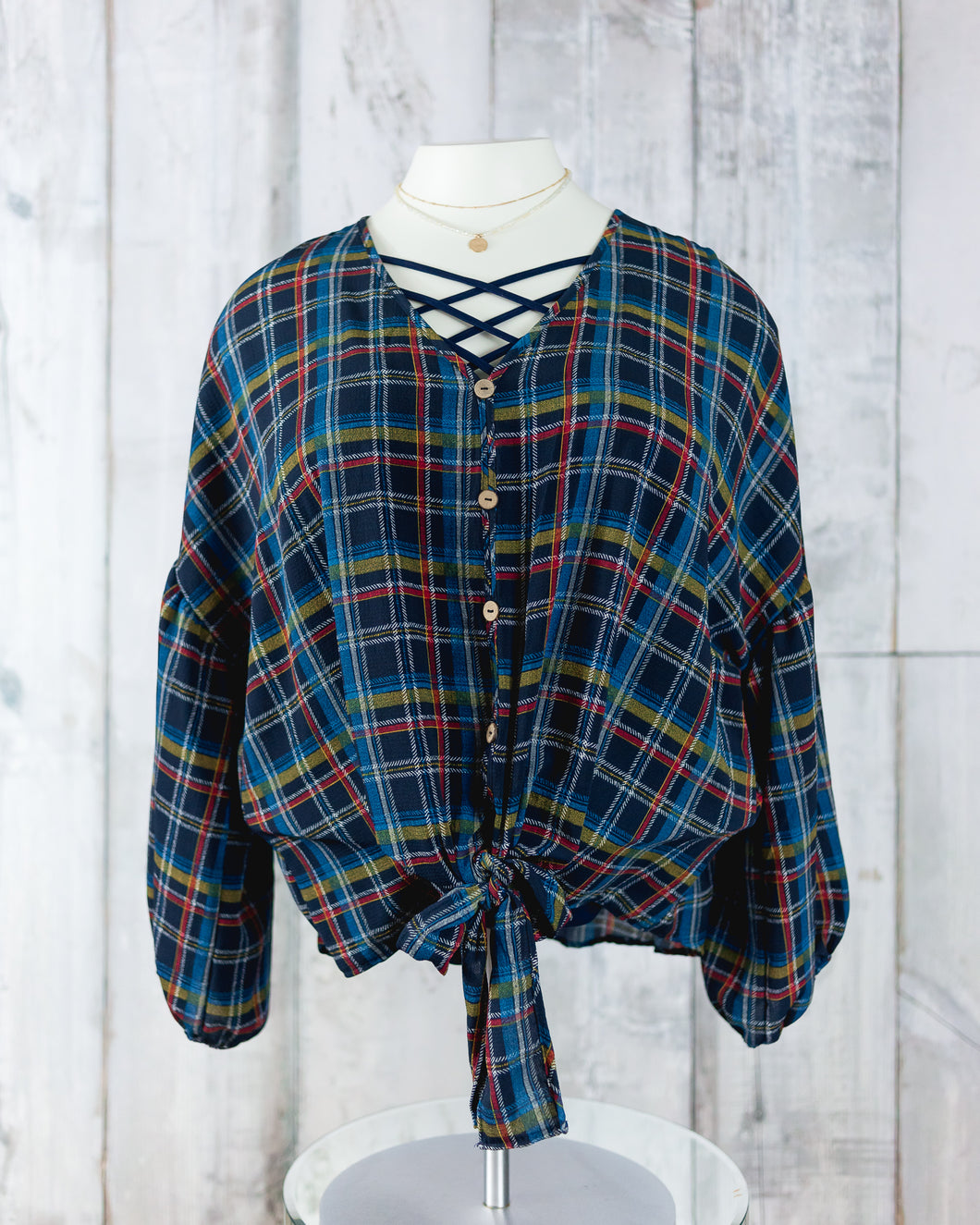 PLUS Front Tie Woven Check Printed Top
