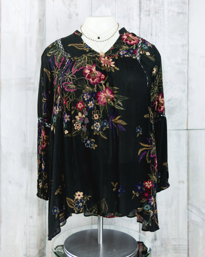 PLUS V Neck Floral Print Swing Tunic Top
