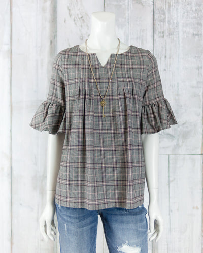 Ruffle Slv Plaid Top T16903
