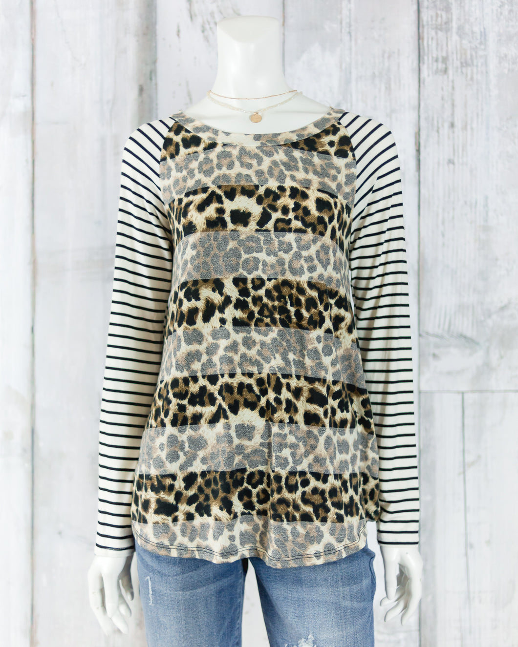 Long Sleeve Cheetah Striped Tee