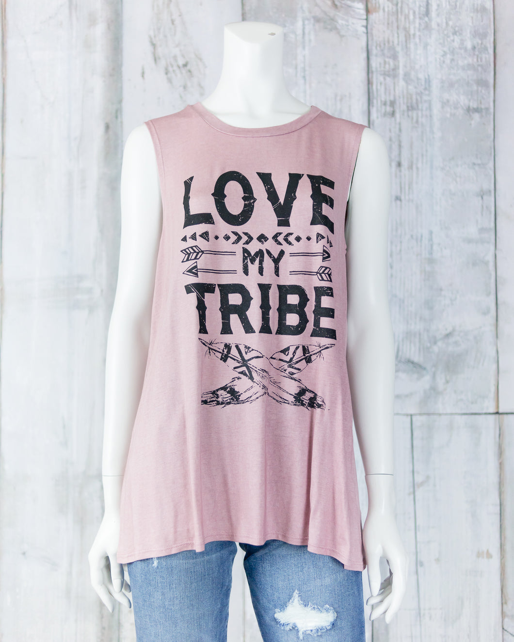 Love My Tribe Sleeveless Graphic Top