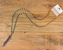 Long Turquoise Feather Necklace