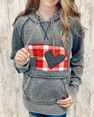Zen Hoodie w Red and White Plaid State w Grey Heart
