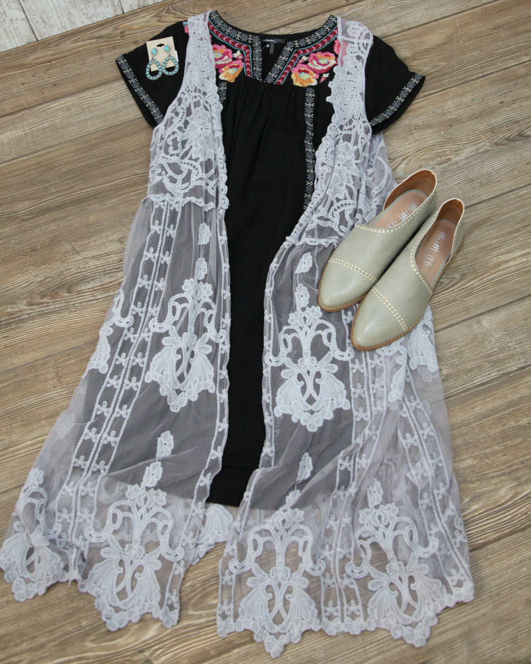 ORI Embroidered Lace Long Vest 801-C007