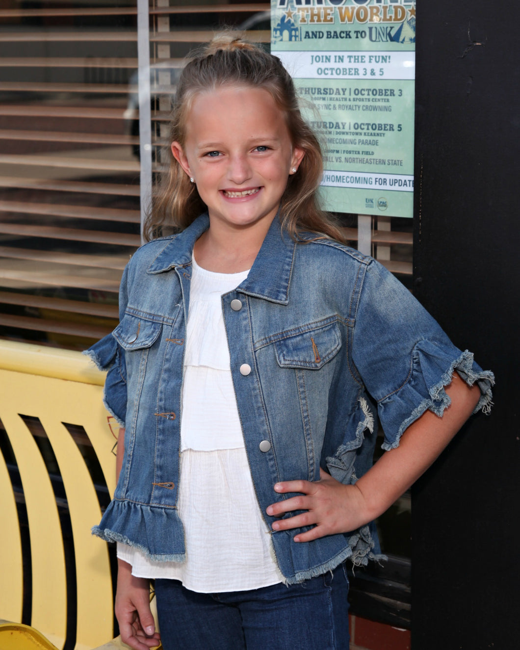 KIDS Ruffle Stone Wash Denim Jacket