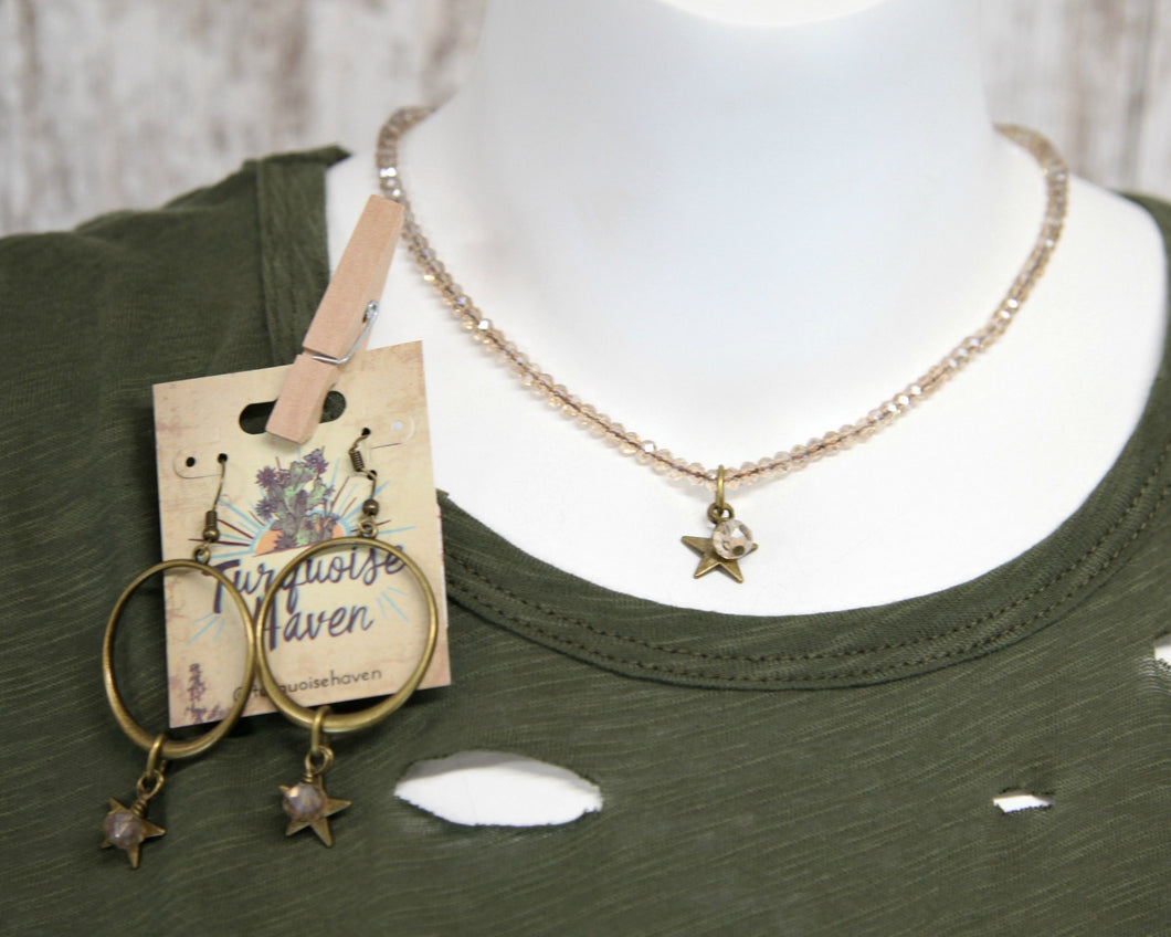 Champagne Crystal 14In Necklace w Star Charm