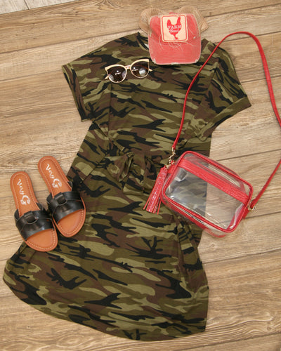 Camo Tie Front T Shirt Dress H4443