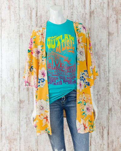 Floral Cardigan with 3/4 Flutter Sleeves