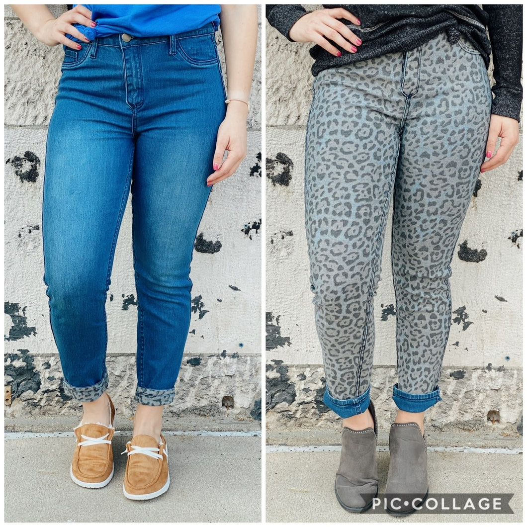 Reverse Solid and Leopard Print Denim Zip Jean