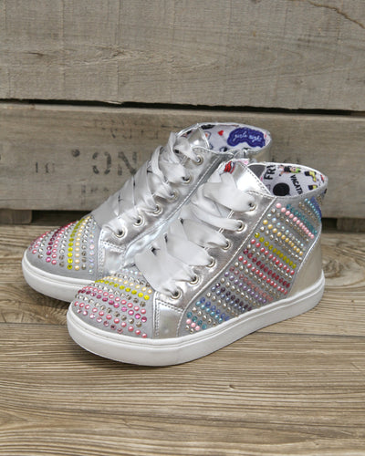 J Rainey Rainbow Sparkle High Top Sneaker w Side Zip