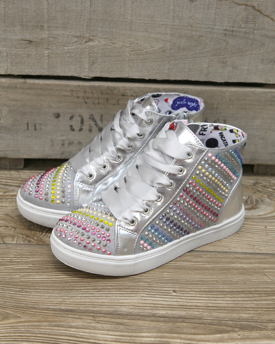 STEVE MADDEN J Rainey Rainbow Sparkle High Top Sneaker w Side Zip