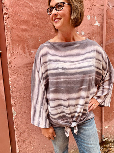 Dye Print French Terry One Off Shoulder Top w Tie Front