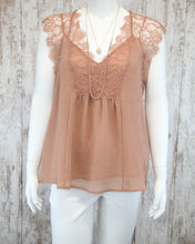Slvless Sheer Top w Lace Accents w Racerback Tank Underneath WL18-1585