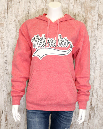 Washed Red Hoodie w Nebraska Black Stitched Applicae
