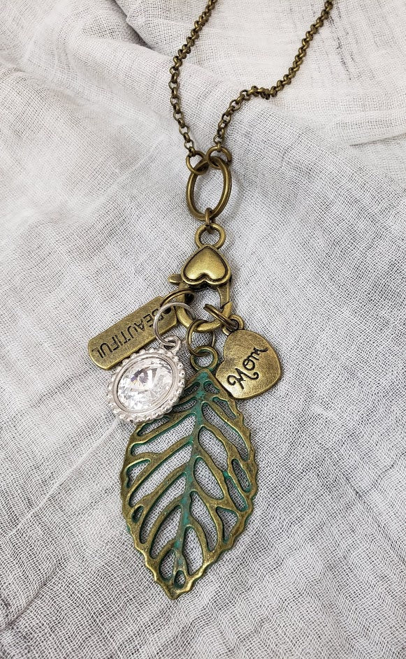 Brass 24In Necklace w Patina Brass Leaf w Brass Mom Heart & Beautiful & Lg Round Crystal