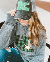 Kearney Stars Zen Hoodie w Applique Green Blk Buffalo Plaid K